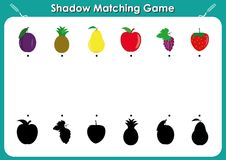 Shadow matching game, activity page for kids. Find the right, correct shadow task for kids preschool, fruits and shadows. Free kindergarten worksheets to help Stock Photos