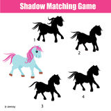 Shadow matching game with animals theme, kids activity, worksheet. Shadow matching game for children. Find the right, correct shadow for cute pony task for kids Stock Photography