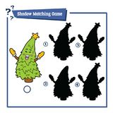 Shadow matching game with cartoon christmas tree. Vector illustration of educational shadow matching game with cartoon character for children Royalty Free Stock Photography