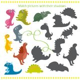 Shadow matching game with cartoon dinosaur for children. Vector illustration of shadow matching game with cartoon dinosaur for children Royalty Free Stock Photography