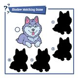 Shadow matching game with cartoon husky. Vector illustration of educational shadow matching game with cartoon character for children Stock Photo