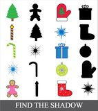Shadow matching game for children. Find the shadow. Christmas new year icons, vector. Shadow matching game for children. Find the shadow. Christmas new year Royalty Free Stock Photos