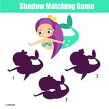 Shadow matching game. Kids activity with cute mermaid. Shadow matching game for children. Find the right shadow. Activity for preschool kids with cute mermaid Stock Photo