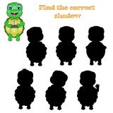Vector illustration of find the right shadow of a turtle royalty free illustration