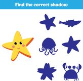 Shadow matching game for children. Find the right shadow. Activity for preschool kids. Theme mermaid sea, ocean, fish. Vector illu. Stration Royalty Free Stock Photography