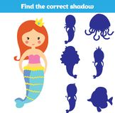 Shadow matching game for children. Find the right shadow. Activity for preschool kids. Theme mermaid sea, ocean, fish. Vector illu. Stration Royalty Free Stock Images