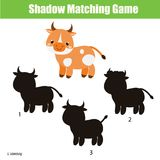Shadow matching game. Kids activity with cute cow. Shadow matching game for children. Find the right shadow for cow. Activity for preschool kids and todders Royalty Free Stock Photo