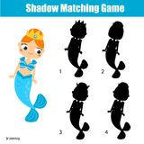 Shadow matching game. Kids activity with cute mermaid. Shadow matching game for children. Find the right shadow. Kids activity with cute mermaid Stock Photo