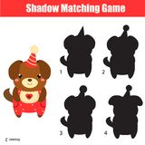 Shadow matching game. Kids activity with cute party dog. 2018 New Year theme. Shadow matching game for children. Find the right shadow. Kids activity with cute Stock Photos