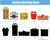 Shadow matching game. Kids activity with gift boxes. Christmas, new Year theme. Shadow matching game for children. Find the right shadow. Kids activity with gift Royalty Free Stock Image