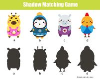 Shadow matching game. Kids activity with cute animals. Shadow matching game for children. Find the right shadow. Activity for preschool kids with cute animals Stock Photography