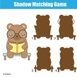 Shadow matching game. Kids activity with cute bear Royalty Free Stock Photo