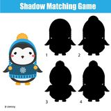 Shadow matching game. Kids activity with cute winter penguin. Shadow matching game for children. Find the right shadow. Activity for preschool kids with cute Stock Images
