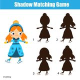Shadow matching game. Kids activity with ice skating girl. Shadow matching game for children. Find the right shadow. Activity for preschool kids with ice skating Royalty Free Stock Photo