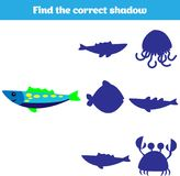 Shadow matching game for children. Find the right shadow. Activity for preschool kids. Theme mermaid sea, ocean, fish. Vector illu. Stration Stock Photos