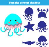 Shadow matching game for children. Find the right shadow. Activity for preschool kids. Theme mermaid sea, ocean, fish. Vector illu. Stration Royalty Free Stock Photos