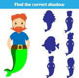 Shadow matching game for children. Find the right shadow. Activity for preschool kids. Theme mermaid sea, ocean, fish. Vector illu. Stration Stock Photography