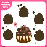 Shadow matching game. Kids activity with Valentine`s day cupcake. Shadow matching game for children. Find the right shadow. Activity for preschool kids with Royalty Free Stock Image