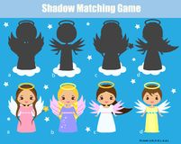 Shadow matching game. Kids activity with cute angels. Shadow matching game for children. Find the right shadow. Kids activity with cute angels royalty free illustration