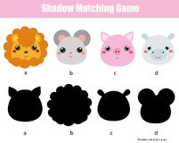 Shadow matching game. Kids activity with cute animals faces. Shadow matching game for children. Find the right shadow. Kids activity with cute animals faces Royalty Free Stock Images