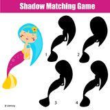 Shadow matching game. Kids activity with cute mermaid. Shadow matching game for children. Find the right shadow. Kids activity with cute mermaid Royalty Free Stock Images