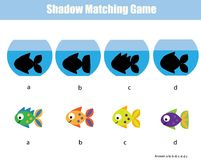 Shadow matching game. Kids activity with fishes. Shadow matching game for children. Find the right shadow. Kids activity with fishes Stock Photography