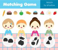 Shadow matching game. Kids activity with food. Put meal into plates. Shadow matching game for children. Find the right shadow. Kids activity with food. Put meal Stock Image