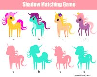 Shadow matching game. Kids activity with unicorns. Shadow matching game for children. Find the right shadow for unicorns. Activity for preschool kids and Stock Photography