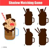 Shadow matching game. Kids activity with milk shake cocktail. Shadow matching game for children. For kids preschool and school age. Worksheet, find the correct Royalty Free Stock Images