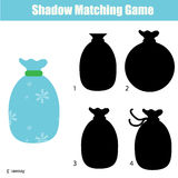 Shadow matching game. Christmas theme, kids activity, worksheet. Shadow matching game for children. Find the right, correct shadow for kids preschool and school Stock Photo