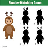 Shadow matching game. Christmas theme, kids activity, worksheet. Shadow matching game for children. Find the right, correct shadow for kids preschool and school Royalty Free Stock Photos