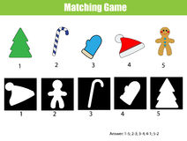 Shadow matching game. Christmas theme, kids activity, worksheet. Shadow matching game for children. Find the right, correct shadow for kids preschool and school Royalty Free Stock Photo