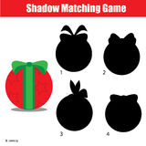 Shadow matching game. Christmas, winter holidays theme, kids activity, worksheet. Shadow matching game for children. Find the right, correct shadow for kids Royalty Free Stock Images