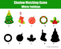 Shadow matching game. Christmas, winter holidays theme, kids activity, worksheet. Shadow matching game for children. Find the right, correct shadow for kids Stock Photography