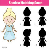 Shadow matching game with cute girl in princess dress. Shadow matching game for children. Find the right, correct shadow task for kids preschool and school age Stock Photos