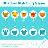 Shadow Matching Game with cute little animal heads. Educational Shadow Matching Game with cute little cartoon animal heads in circles for young kids with Stock Image