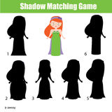 Shadow matching game. Cute Princess character Royalty Free Stock Images