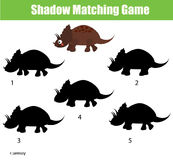 Shadow matching game. Educational children game with dino character. Shadow matching game for children. Find the right, correct shadow task for kids preschool Stock Photos