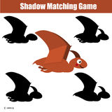 Shadow matching game. Educational children game with dino pterodactylus character. Shadow matching game for children. Find the right, correct shadow task for Royalty Free Stock Photography
