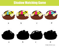 Shadow matching game. Educational children game with Easter eggs buskets. Shadow matching game for children. Find the right, correct shadow task for kids Royalty Free Stock Images