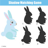 Shadow matching game. Educational children game with rabbit character. Shadow matching game for children. Find the right, correct shadow task for kids preschool Royalty Free Stock Image