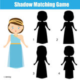 Shadow matching game, find the correct shadow. Shadow matching game for children. Find the right, correct shadow task for kids preschool and school age Royalty Free Stock Photo