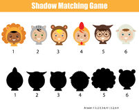 Shadow matching game. Find the correct shadow kids activity Royalty Free Stock Images