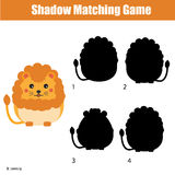 Shadow matching game. Find the correct silhouette for cute lion, kids activity, worksheet. Shadow matching game for children. For kids preschool and school age stock illustration