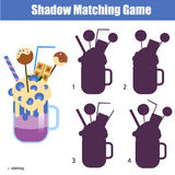 Shadow matching game. Find the correct silhouette for milk shake, kids activity, worksheet. Shadow matching game for children. For kids preschool and school age Royalty Free Stock Photos