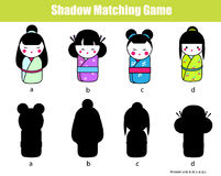 Shadow matching game. Find the right shadow. Activity for kids, toddlers, children. Shadow matching game for children. Find the right, correct shadow task for Royalty Free Stock Photo