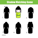 Shadow matching game. Find the right shadow. Shadow matching game for children. Find the right, correct shadow task for kids preschool and school age Royalty Free Stock Image