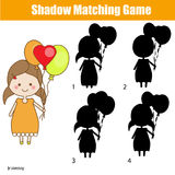 Shadow matching game. Find the right shadow. Kids activity. Shadow matching game for children. Find the correct shadow. for kids preschool and school age. Cute Royalty Free Stock Image