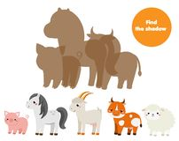 Shadow matching game. Find silhouettes of farm animals. Educational kids activity