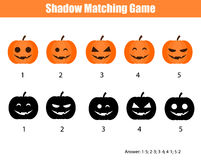 Shadow matching game, halloween theme with pumpkins Stock Photography